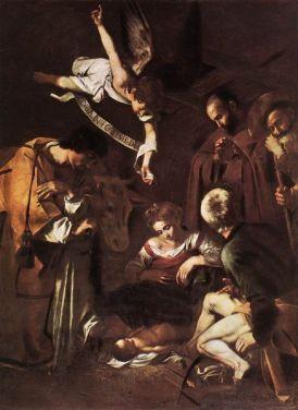 caravaggio Nativita_con_i_santi_Francesco_e_Lorenzo-437x600