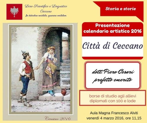 Calendario Artistico.Calendario Artistico Ceccano Presentazione Al Liceo E