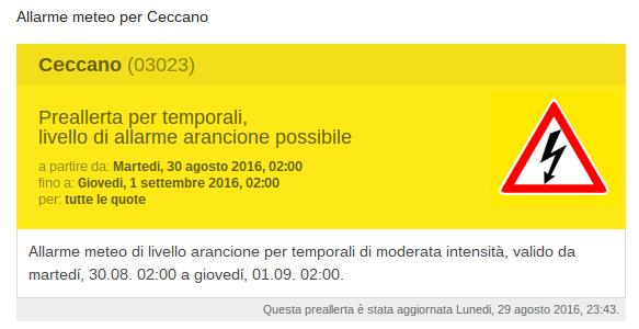 Allarme meteo per Ceccano