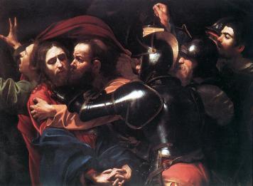 Michelangelo+Merisi+da+Caravaggio+-+La+cattura+sul+monte+degli+ulivi+di+Gesù+Cristo